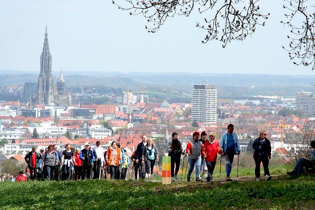 nordic walking nad městem